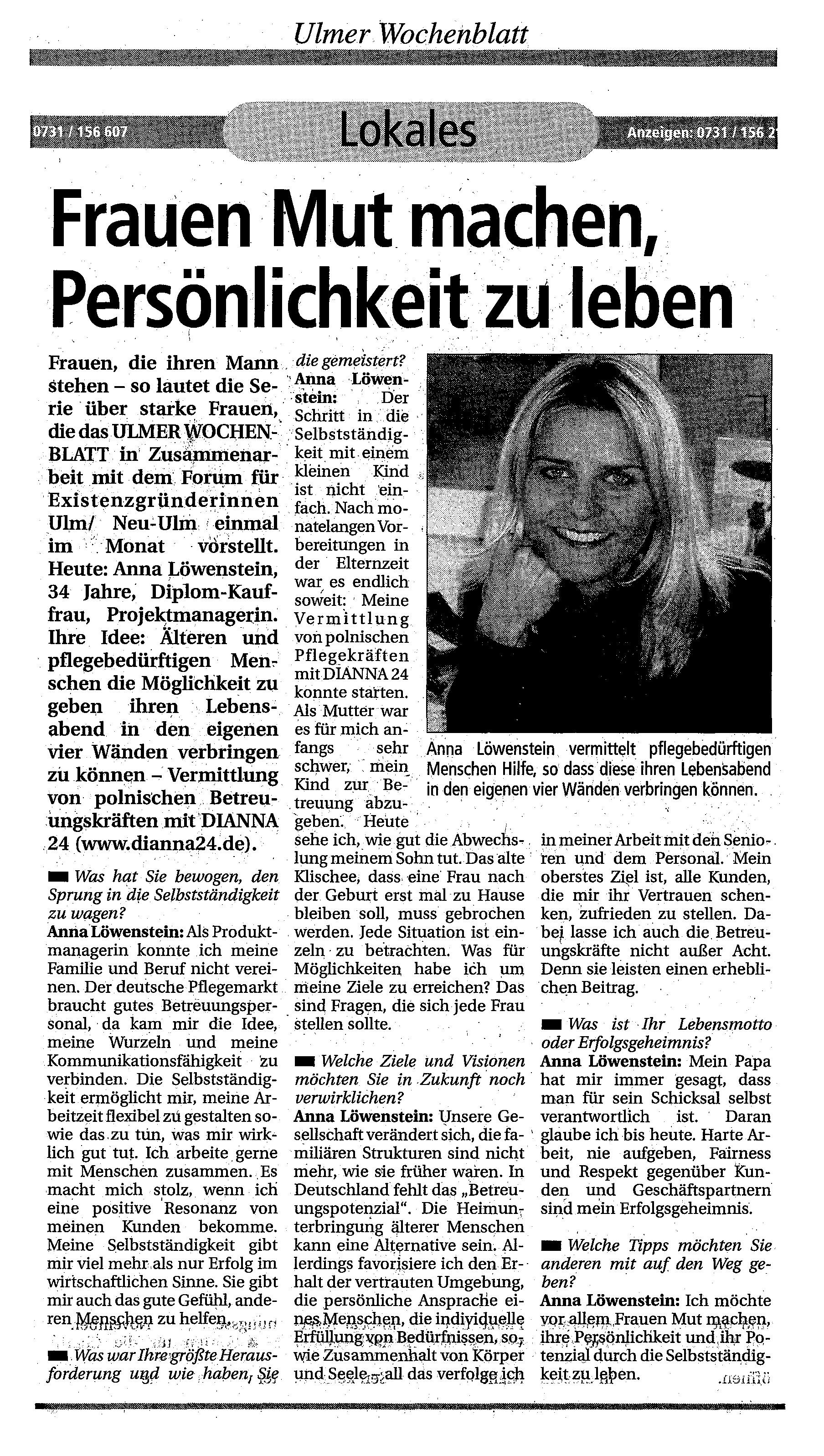 Ulmer wochenblatt bekanntschaften